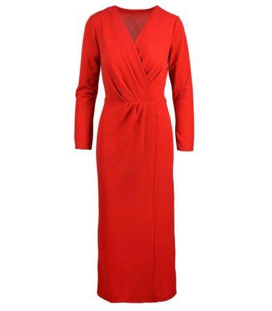 Błyszcząca sukienka kopertowa glam maxi
