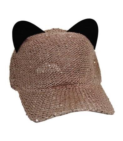Czapka z daszkiem uszy kota CEKINY