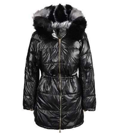 Długa metaliczna dwustronna zimowa kurtka