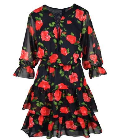Piękna Kobieca Sukienka Róże i falbany