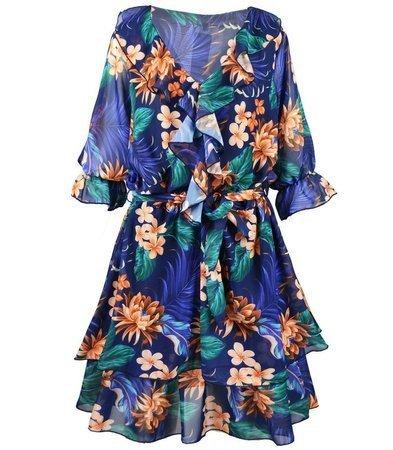 Piękna zwiewna Kobieca Sukienka falbany Hawai
