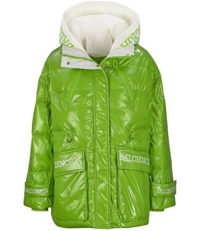 Płaszcz pikowany błyszczący długa kurtka